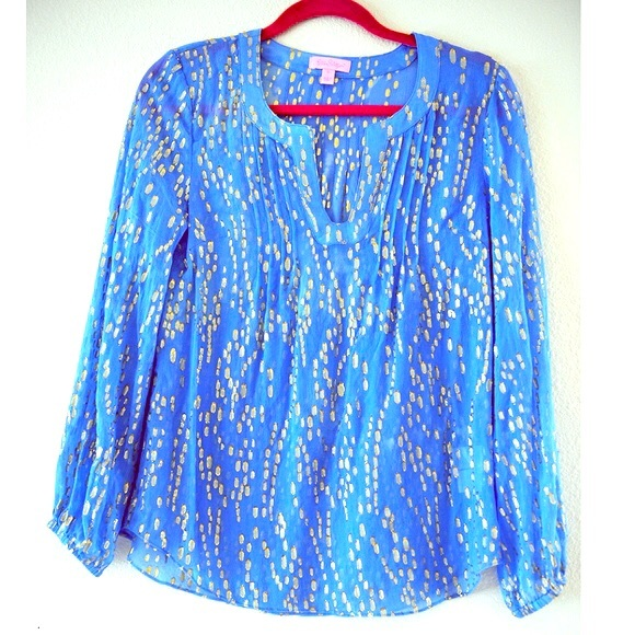 1203ebad91e Lilly Pulitzer Tops - Lilly Pulitzer Colby silk metallic dot top XS